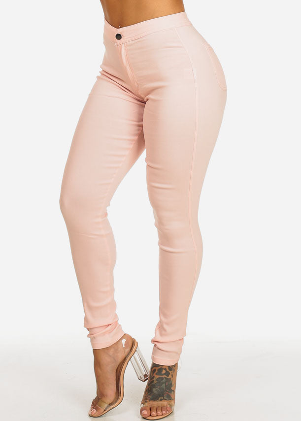 Blush High Waist Slim Fit Skinny Pants