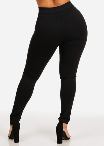 High Waist Black Stretchy Women's Skinny Pants