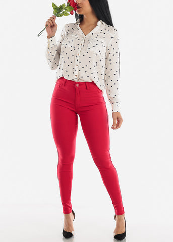 Image of Red High Rise Pants
