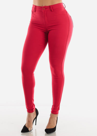 Red High Rise Pants
