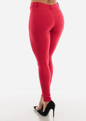 Image of Red High Rise Jeans