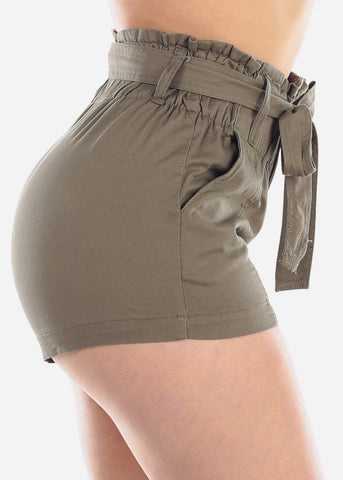 Women's Junior Ladies High Waisted Paperbag Olive Stretchy Shorts For Summer Vacation Beach 2019 New
