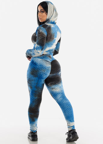 Anti Cellulite Royal Blue Hoodie & Leggings  (2 PCE SET)