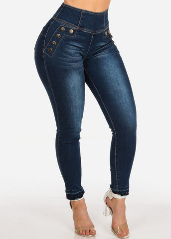 Women's Junior Stylish High Waisted Above The Waist Back Zipper Front Gold Button Detail Sexy Dark Wash Raw Hem Denim Skinny Jeans