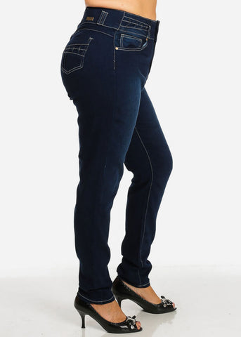 Image of Plus Size High Waisted Dark Skinny Jeans