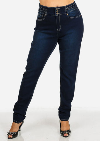 Plus Size High Waisted Dark Skinny Jeans