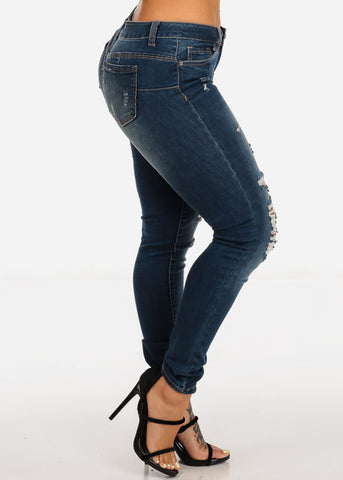Mid Rise Distressed Butt Lifting Dark Skinny Jeans