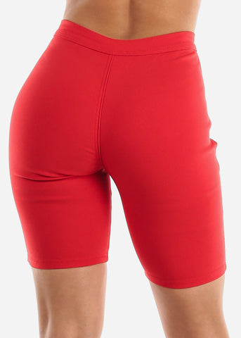 High Rise Slim Fit Red Bermuda Shorts