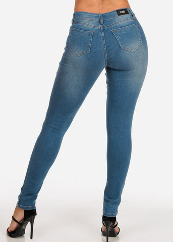 Women's Junior Ladies Low Rise 1 Button Med Wash Distressed Skinny Jeans