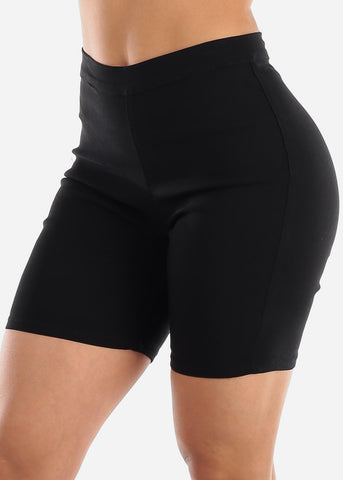 High Rise Slim Fit Black Biker Shorts