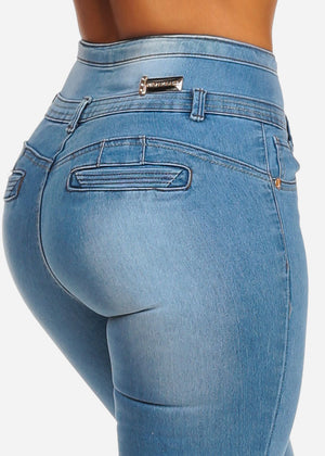 Light Wash Butt Lifting Mid Rise Skinny Jeans