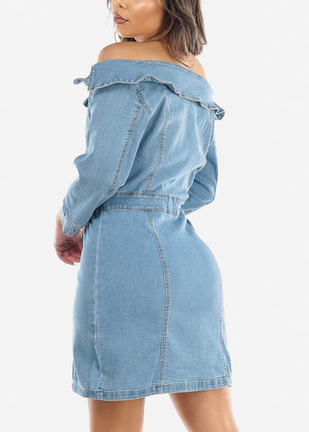 Image of Off Shoulder Button Up Denim Mini Dress