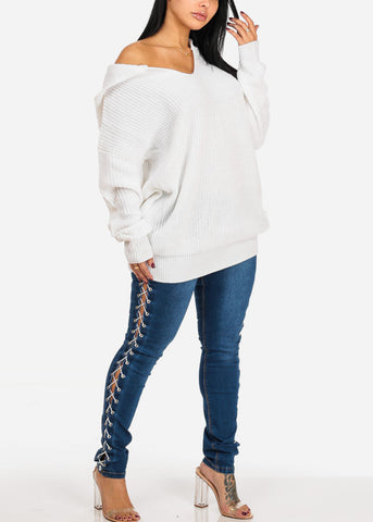 Image of Low Rise Med Wash White Side Lace Up Detail Skinny Jeans
