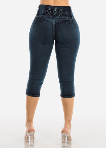 Image of Butt Lifting Dark Wash Denim Capris