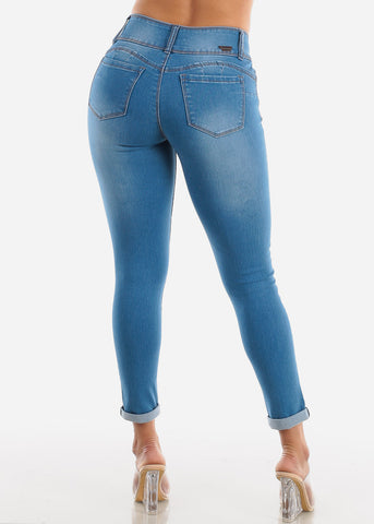 Image of Med Wash Levanta Cola Skinny Jeans