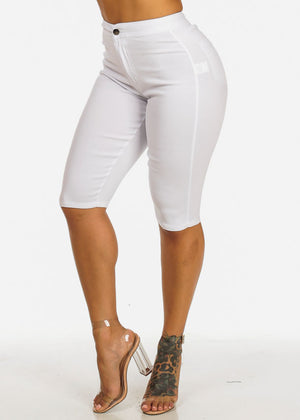 High Rise White Stretchy Shorts