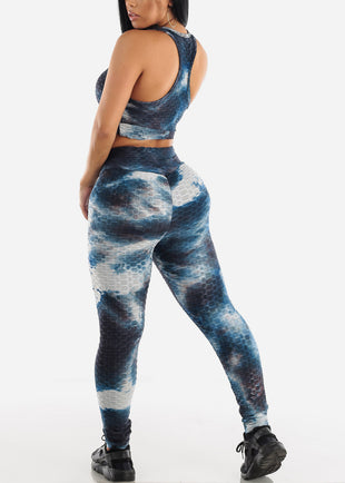 Anti Cellulite Tie Dye Blue Sports Bra & Leggings  (2 PCE SET)