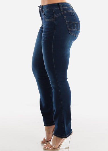 Butt Lifting Dark Wash Straight Leg Jeans