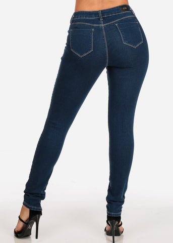 Women's Junior Ladies Low Rise 1 Button Solid Color Dark Wash Skinny Jeans