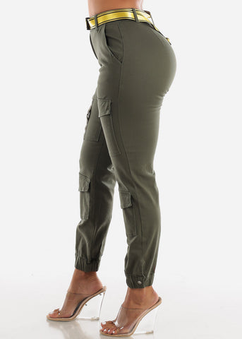 Image of High Rise Belted Olive Cargo Pants