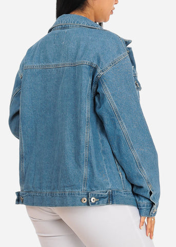Trendy Light Wash Distressed Denim Jacket