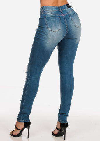 Women's Junior Ladies Low Rise 1 Button Distressed Med Wash Stretchy Skinny Jeans