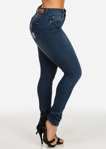 Image of Classic High Rise Dark Wash Skinny Jeans