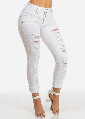 Sexy White Mid Rise Distressed Butt Lift Skinny Jeans