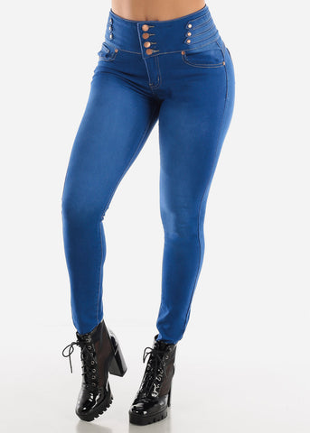 High Waisted Butt Lifting Blue Skinny Jeans