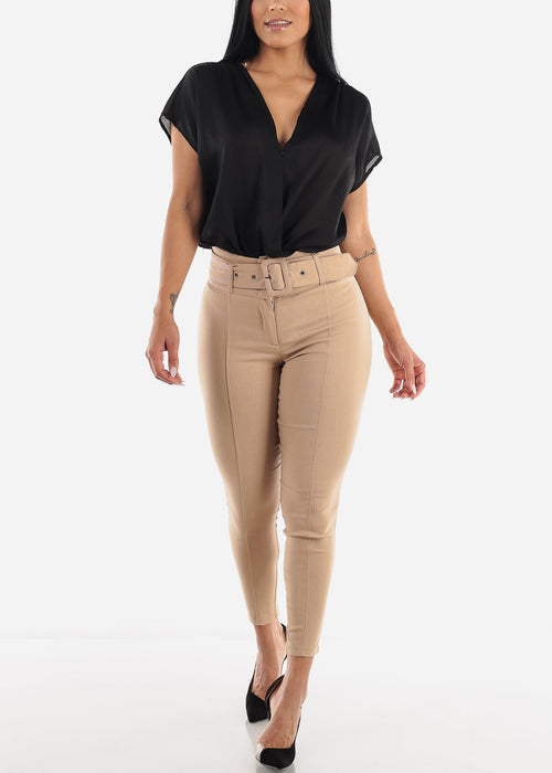Taupe Belted Skinny Pants