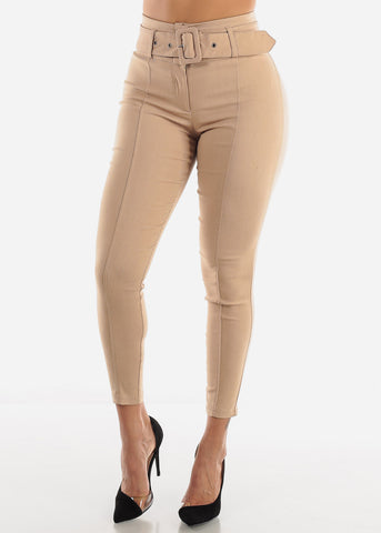 Image of Taupe Belted Skinny Pants