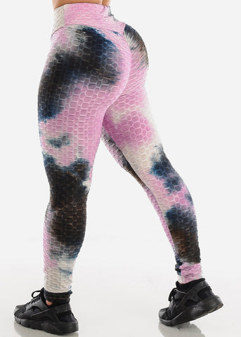 Anti Cellulite Tie Dye Pink Sports Bra & Leggings  (2 PCE SET)