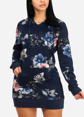 Image of Navy Floral Dress W Hood