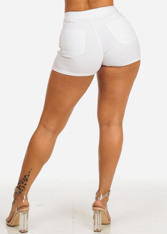 White High Rise Summer Shorty Shorts