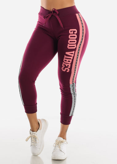"Burgundy Jogger Sweatpants ""Good Vibes"""