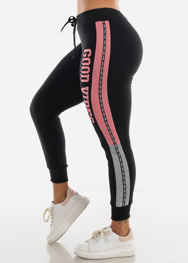 Black & Pink Jogger Sweatpants