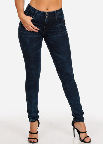 Women's Junior Ladies Mid Rise 2 Button Dark Marble Wash Skinny Jeans With Brown Stitching