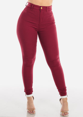 Image of Low Rise 1 Button Butt Lifting Levanta Cola Super Stretchy Burgundy Skinny Jeans