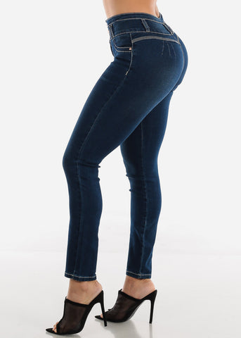 Image of Dark Wash Butt Lifting High Waisted Skinny Jeans