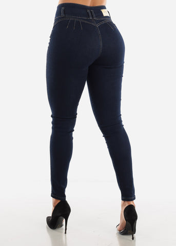 High Rise Dark Denim Butt Lift Jeans