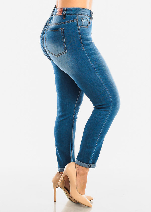 Plus Size Roll Cuff Med Wash Jeans