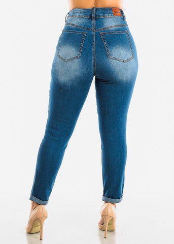 Image of Plus Size Roll Cuff Med Wash Jeans