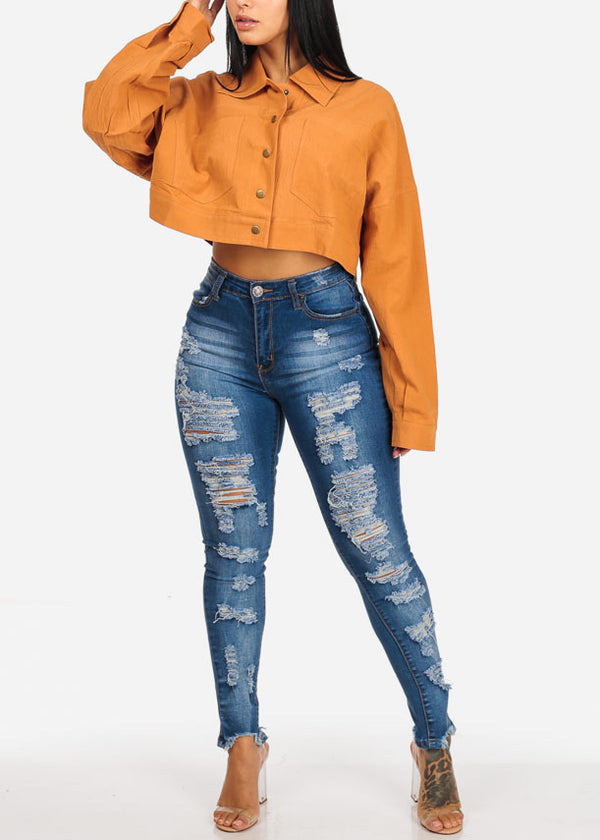 Distressed High Rise Med Skinny Jeans