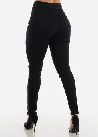 Image of High Rise Ripped Butt Lift Black Jeans
