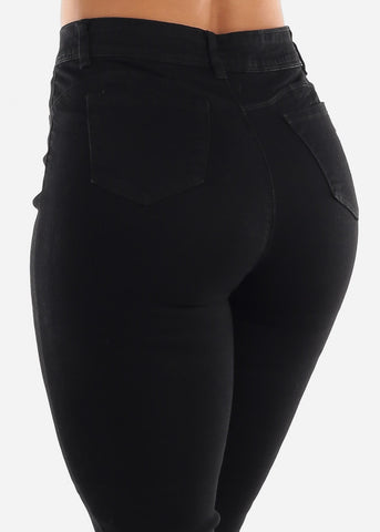 High Rise Ripped Butt Lift Black Jeans