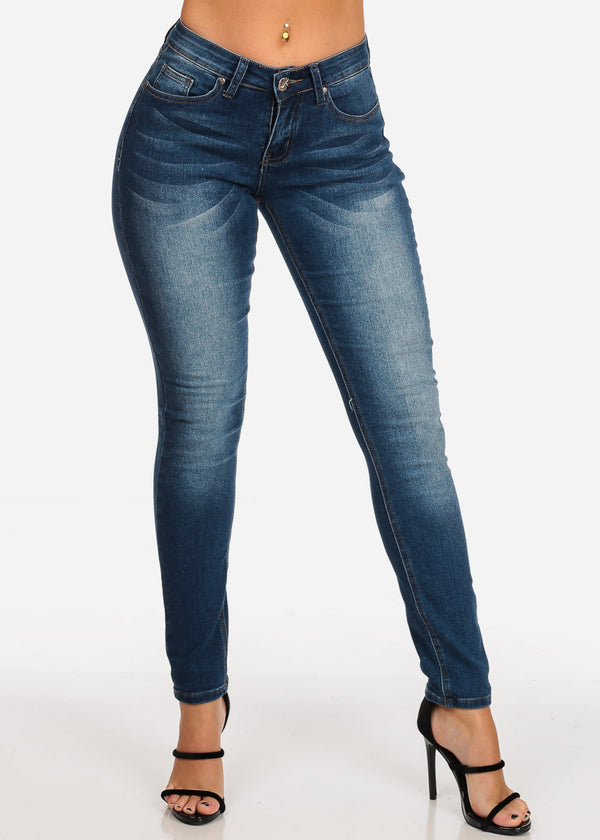 Women's Junior Ladies Low Rise 1 Button Dark Wash Skinny Jeans