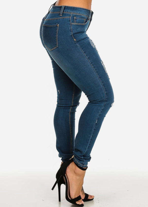 Low Waist Ripped Blue Skinny Jeans