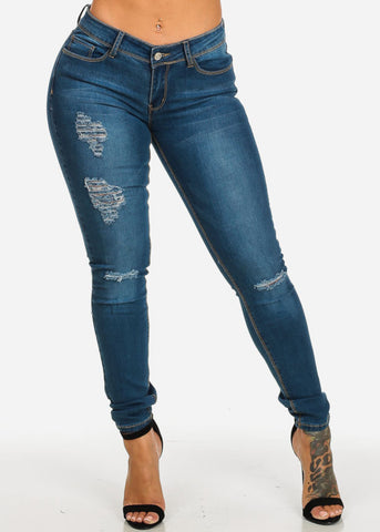 Image of Low Waist Ripped Blue Skinny Jeans