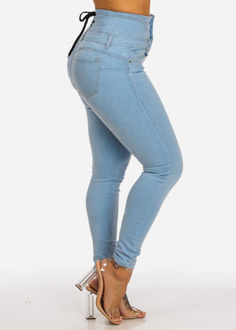 Image of High Rise Butt Lifting Lace Up Skinny Jeans