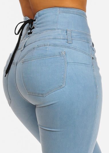 High Rise Butt Lifting Lace Up Skinny Jeans